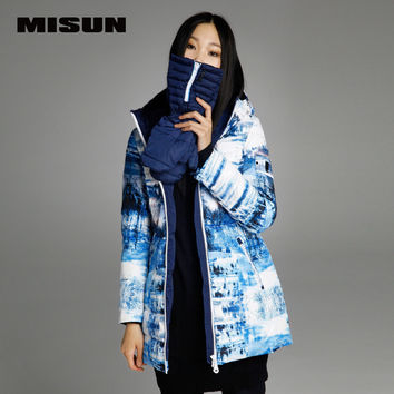 MISUN winter jacket women slim detachable print gloves with a hood medium-long YKK zippers sashes outerwear down coat & parkas