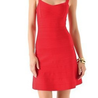 Red Spaghetti Strap Dress Sexy Slim Bandages Prom Dress One Piece Dress [4920440964]