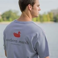 Southern Marsh Authentic SS Pocket Tee in Blue