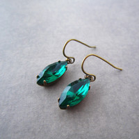 Emerald Green Earrings - Navette Rhinestore - Vintage Style Jewelry