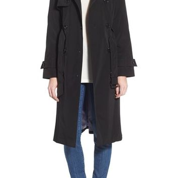 London Fog Raglan Sleeve Double Breasted Long Trench Coat | Nordstrom