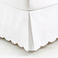Bed Scallop  Skirt, White, Bedskirts