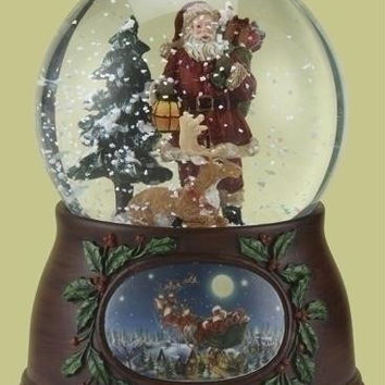 Santa And Deer Snow Globe - Revolves And Plays Music