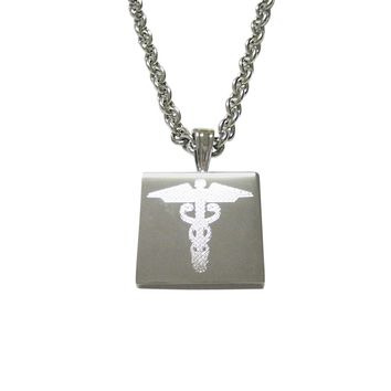 Silver Toned Etched Caduceus Medical Symbol Pendant Necklace