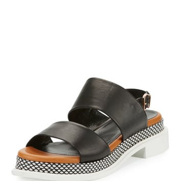 Robert Clergerie Camas Two-Band Slingback Sandal, Black