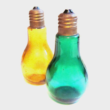 Vintage Green / Gold Glass Light Bulb Salt and Pepper Shakers