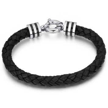 Braided Leather and Stainless Steel Sailor Design Bracelet