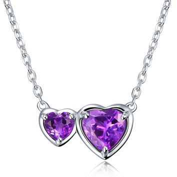 Natural Purple Amethyst Gem 925 Sterling Silver Side By Side Hearts Necklace