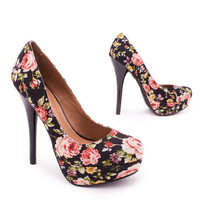 rose-print-pump BLACK - GoJane.com