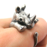 Rhino Rhinoceros Animal Wrap Around Ring in Silver - Size 5 to 10