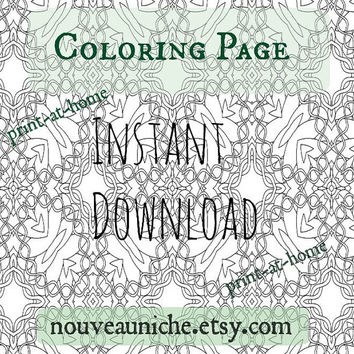 Adult Coloring Page, Celtic Knotwork, Zentangle