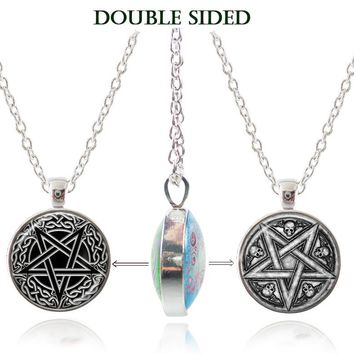 Pentagram Necklace Wiccan Pendant Occult Jewelry Glass Dome Double Sided Necklace Skull Picture Jewelry Women Men Accessories