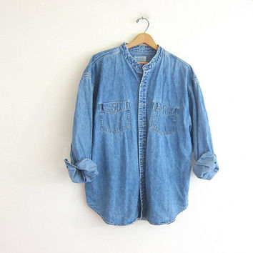 vintage jean shirt. denim pocket shirt. worn in denim shirt. collarless boyfriend shirt.