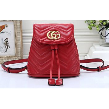 GUCCI Fashion Hot Selling Lady's Chequered Backpack Red