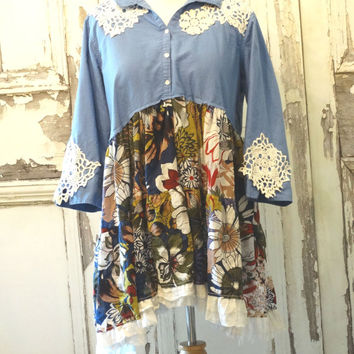 Blue Floral Lagenlook Tunic Dress Wearable Art Plus Size Loose Fit Dress Boho Chic Women's Fashion Upcycled Recycled size 1x