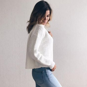 Spring Autumn New Style Women Pullovers Knitted Sweater Long Sleeve O-Neck Colour mixture Short Coat Fashion Sexy
