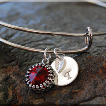 Silver Garnet January Birthstone Bangle, Expandable Bangle Bracelet, Adjustable Personalized Bracelet, Birthstone Bracelet, Swarovski Bangle