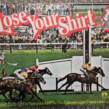 "Vintage 1976 ""Lose Your Shirt"" Horse Racing Board Game / Horse Betting Retro Game"