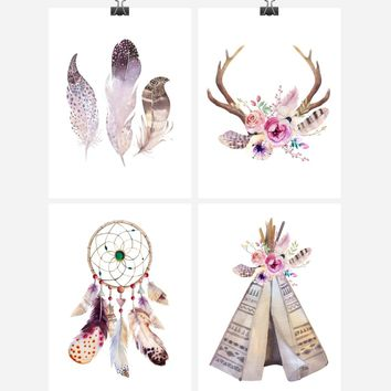 Boho Tribal Watercolor Nursery Decor Set of 4 Prints Available in Multiple Sizes