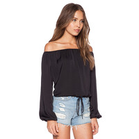 Black Chiffon Off-shoulder Puff Long Sleeve Top