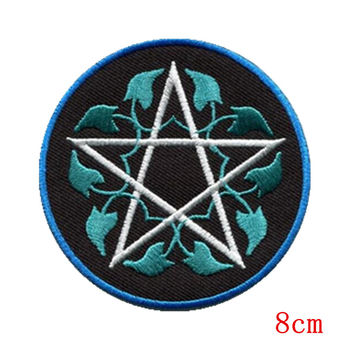 Pentagram pagan pentacle wicca white witchcraft applique iron on patch