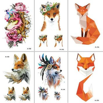 Wyuen Hot Design Fox Temporary Tattoo for Women Body Art Animal 9.8X6cm Waterproof Tattoo Sticker A-091 Fake Tattoo