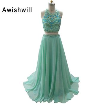 Vestidos de Baile New Arrival Bohemian Style Party Dress Beading Chiffon Graduation Dress Robe de Bal 2 Piece Prom Dresses Long