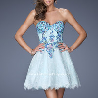 Beaded Strapless Dress by La Femme