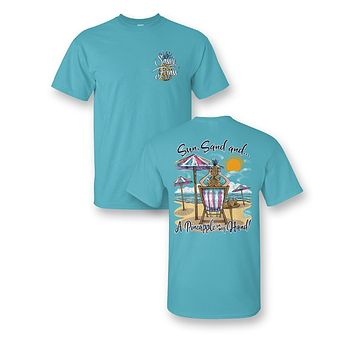 Sassy Frass Sun Sand & a Pineapple in my Hand Beach Bright Girlie T Shirt