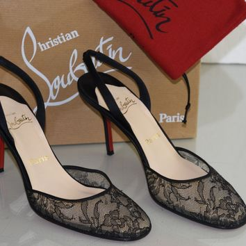 NEW Christian Louboutin SEVILLE Lace Black Crepe Satin Slingback Pumps Shoes 38