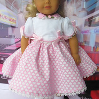 50s style Valentines Dress (18 inch) pink with white hearts OOAK for American Girl doll