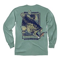 Bass & Lure Long Sleeve Tee in Light Green by Fripp & Folly - FINAL SALE