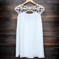 caged up flowy chiffon dress in ivory