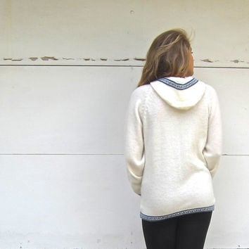 White and Blue Alpaca Wool Greek Infinity Sweater