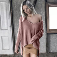Long Sleeve Deep V- Neck High-Low Sweater
