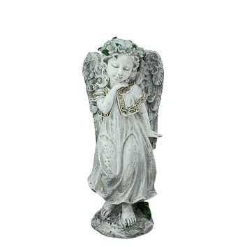 "10.25"" Heavenly Gardens Distressed Gray Angel Girl with Floral Crown Outdoor Patio Garden Statue"