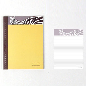 Lined Notebook Notepad with Zebra Horse and Ruler Detail | Cute Animal Themed Stationery Paper Goods