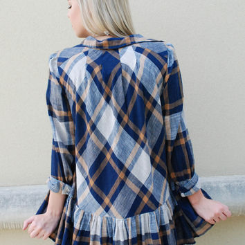 Free People Through The Woods Ruffle Plaid - Navy