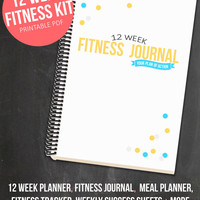 12 Week Fitness Planner  - Printable Health and Fitness Journal