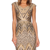 La Maison Sequin V-Neck Dress in Metallic Gold