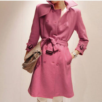 Women's Solid Color Slim Fit Turn-down Collar Double-breasted Long Woollen Coat - Available 2 Great Colors!