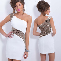 Fashion sexy sequined single shoulder mini dress = 1955607748
