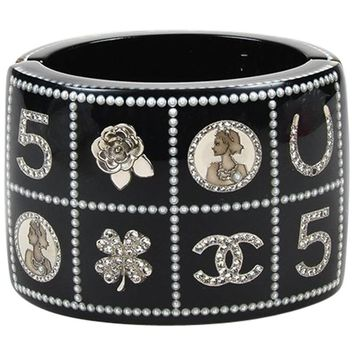 "Chanel 14C Black Quilted Faux Pearl Logo ""Lucky Charms"" Bracelet"