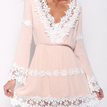 Pink V-neck Lace Panel Long Sleeve Mini Dress