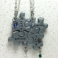 Personalized Puzzle Pieces 4  Necklaces With Pearls or Crystals Silver Polymer clay Made to order