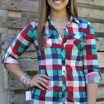Plaid Fad Button Up Top in Red and Turquoise
