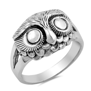 Sterling Silver Women's Ring Owl 14MM