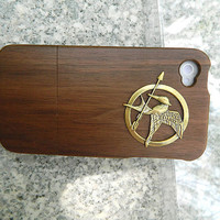 otterbox  iphone case wooden case iphone 4 case iphone 4s case Fashion Custom Handcraft Walnut case  Copper  Hunger Games