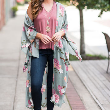 Time Of My Life Duster Kimono, Olive