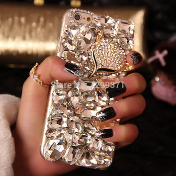 Bling Fox Crystal Diamond Phone Case For Iphone 7 6 6S Plus 5S 5C 4 Samsung Galaxy Note 7 5 4 3 2 S7 S6 Edge Plus S5 4 3 A5 7 8
